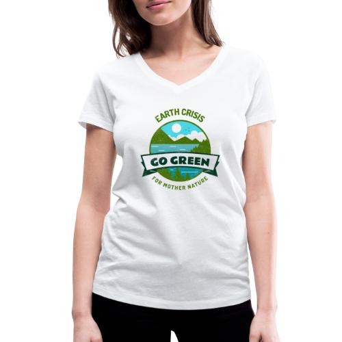 Earth Crisis Go Green For Mother Nature - Vrouwen bio T-shirt met V-hals van Stanley & Stella