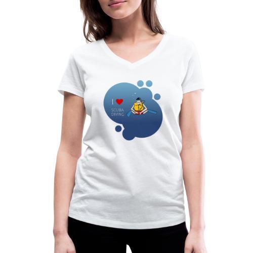 J'aime la plongée sous-marine - plongeur - T-shirt bio col V Stanley & Stella Femme