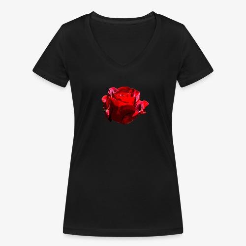 Red Rose - Frauen Bio-T-Shirt mit V-Ausschnitt von Stanley & Stella