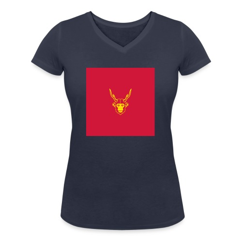 scimmiacervo sfondo rosso - T-shirt ecologica da donna con scollo a V di Stanley & Stella