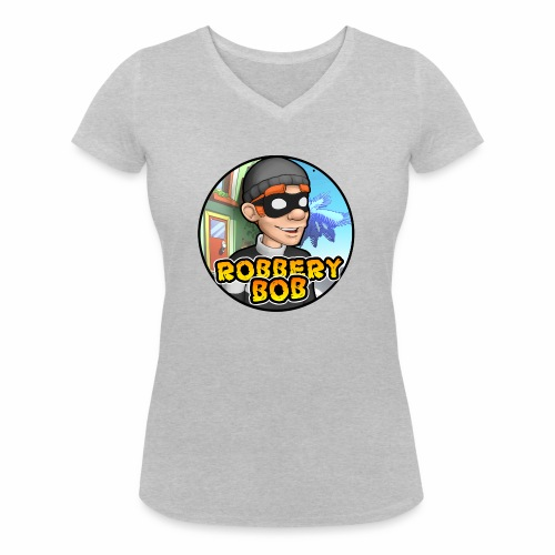 Robbery Bob Button - Women's Organic V-Neck T-Shirt by Stanley & Stella