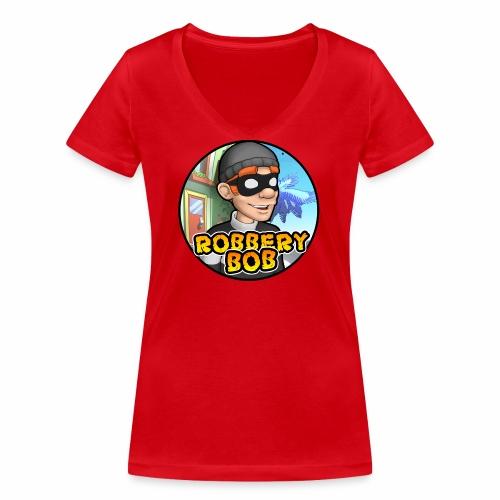 Robbery Bob Button - Women's Organic V-Neck T-Shirt by Stanley & Stella