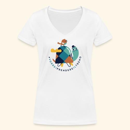Tartaruga e uccellino - T-shirt ecologica da donna con scollo a V di Stanley & Stella