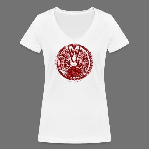 Maschinentelegraph (punainen oldstyle) - Stanley & Stellan naisten v-aukkoinen luomu-T-paita