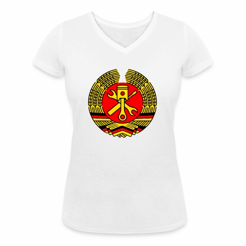 DDR Tuning Coat of Arms 3c (+ Your Text) - Women's Organic V-Neck T-Shirt by Stanley & Stella