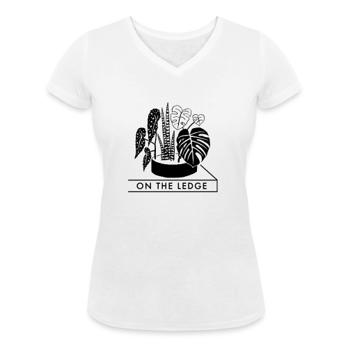On The Ledge black and white logo - Women's Organic V-Neck T-Shirt by Stanley & Stella
