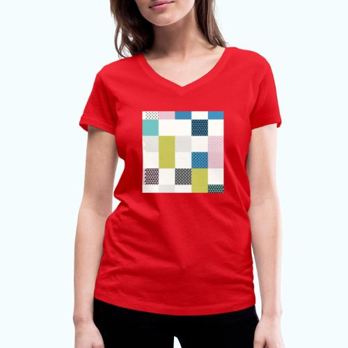 Abstract art squares - Women's Organic V-Neck T-Shirt by Stanley & Stella