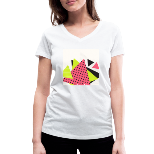 Neon geometry shapes - Women's Organic V-Neck T-Shirt by Stanley & Stella