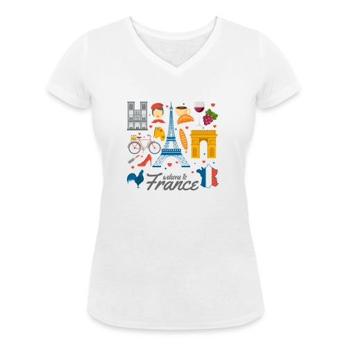 collection femme welcome to france - T-shirt bio col V Stanley & Stella Femme