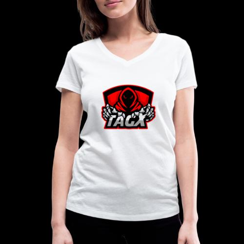 TagX Logo with red borders - Stanley & Stellan naisten v-aukkoinen luomu-T-paita