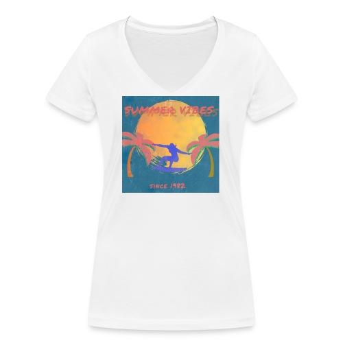 Summer vibes - Camiseta ecológica mujer con cuello de pico de Stanley & Stella