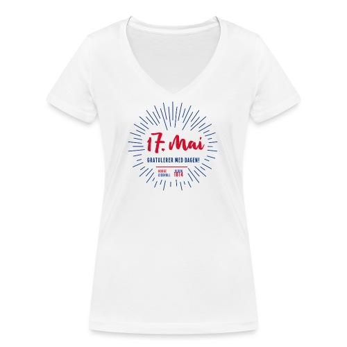 17. mai T-skjorte - Det norske plagg - Økologisk T-skjorte med V-hals for kvinner fra Stanley & Stella