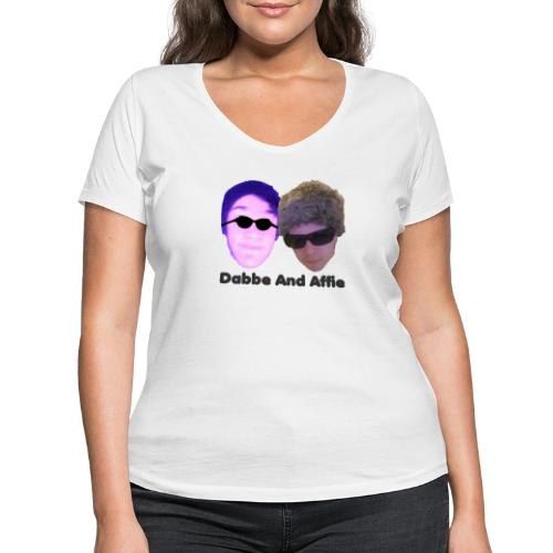 Dabbe And Affie Svart Text - Ekologisk T-shirt med V-ringning dam från Stanley & Stella