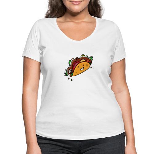 Glücklicher Taco - Frauen Bio-T-Shirt mit V-Ausschnitt von Stanley & Stella