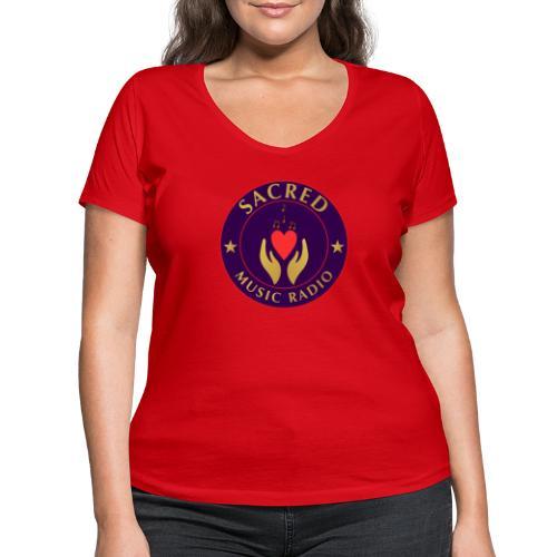 Spread Peace Through Music - Women's Organic V-Neck T-Shirt by Stanley & Stella