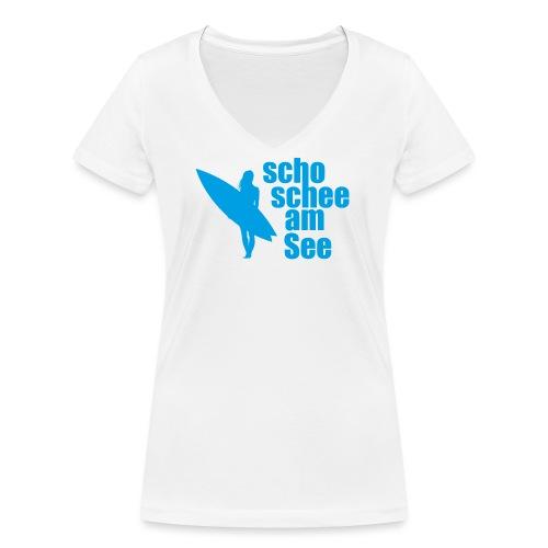 scho schee am See Surferin 03 - Frauen Bio-T-Shirt mit V-Ausschnitt von Stanley & Stella