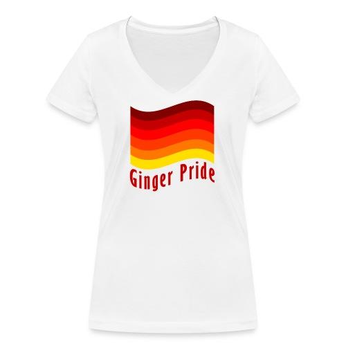 Ginger Pride flag Dark png - Women's Organic V-Neck T-Shirt by Stanley & Stella