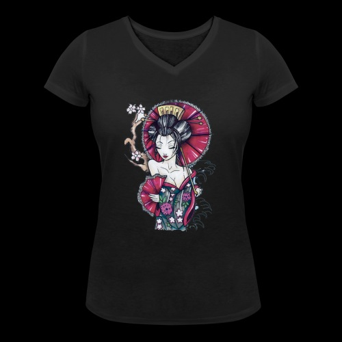 Geisha2 - T-shirt ecologica da donna con scollo a V di Stanley & Stella