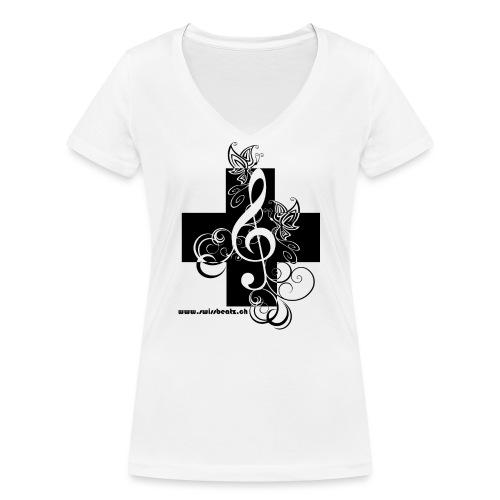 Swiss Beatz Logo non L - Frauen Bio-T-Shirt mit V-Ausschnitt von Stanley & Stella