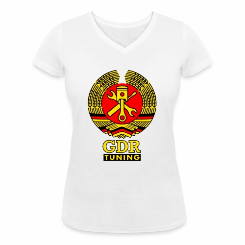 GDR Tuning Coat of Arms 3c - Women's Organic V-Neck T-Shirt by Stanley & Stella