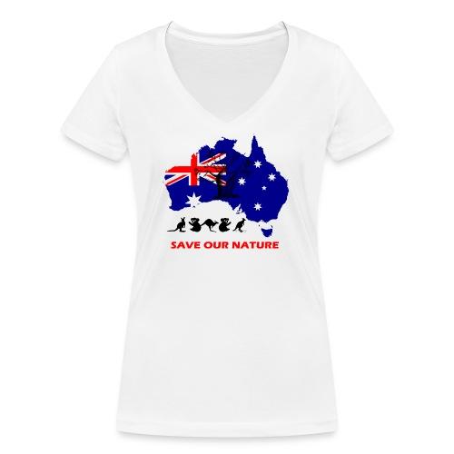 Australien - RETTE LEBEN - JETZT! - Frauen Bio-T-Shirt mit V-Ausschnitt von Stanley & Stella