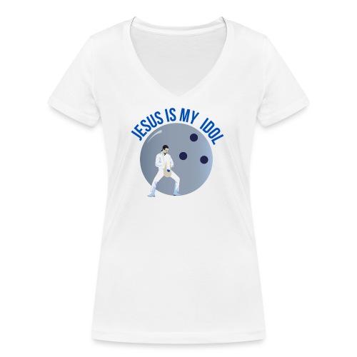 Jesus is my idol - T-shirt ecologica da donna con scollo a V di Stanley & Stella