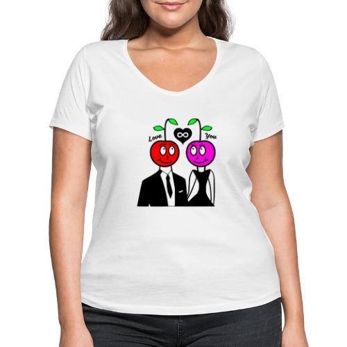 Happy Kirsche - Frauen Bio-T-Shirt mit V-Ausschnitt von Stanley & Stella