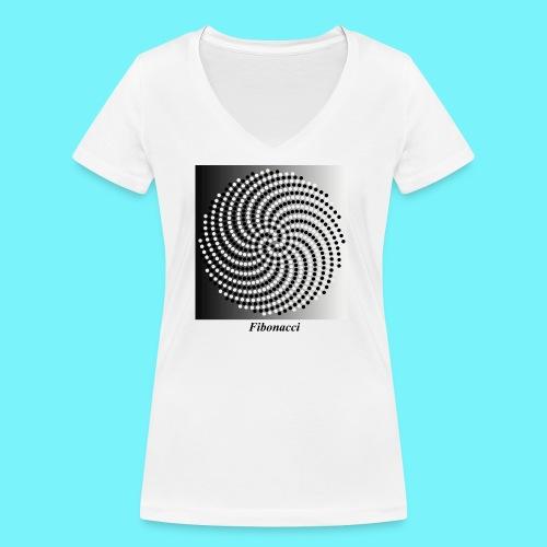 Fibonacci spiral pattern in black and white - Women's Organic V-Neck T-Shirt by Stanley & Stella