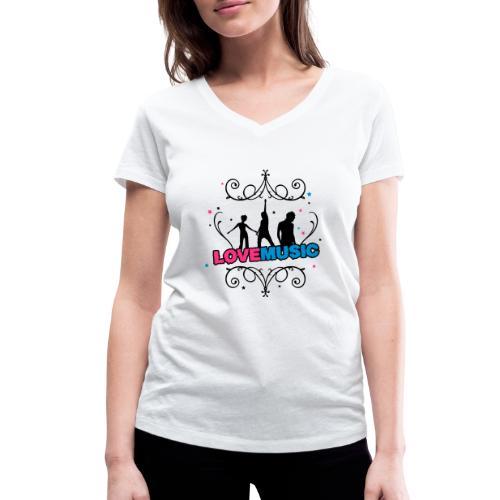 Motif Love Music - T-shirt bio col V Stanley & Stella Femme