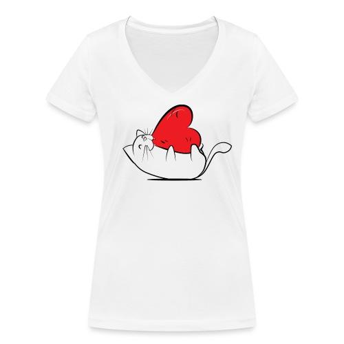 Cat Love - Vrouwen bio T-shirt met V-hals van Stanley & Stella