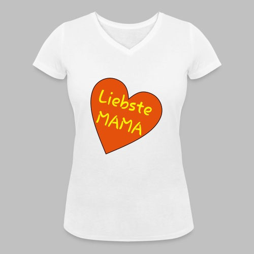 Liebste Mama - Auf Herz ♥ - Frauen Bio-T-Shirt mit V-Ausschnitt von Stanley & Stella