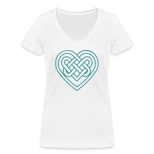 Keltisches Herz, Endlos Knoten, Liebe & Treue - Frauen Bio-T-Shirt mit V-Ausschnitt von Stanley & Stella