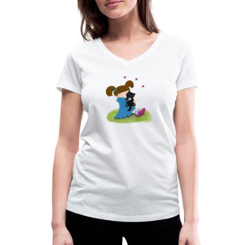 Katzenliebe - Mädchen knuddelt ihre schwarze Katze - Frauen Bio-T-Shirt mit V-Ausschnitt von Stanley & Stella