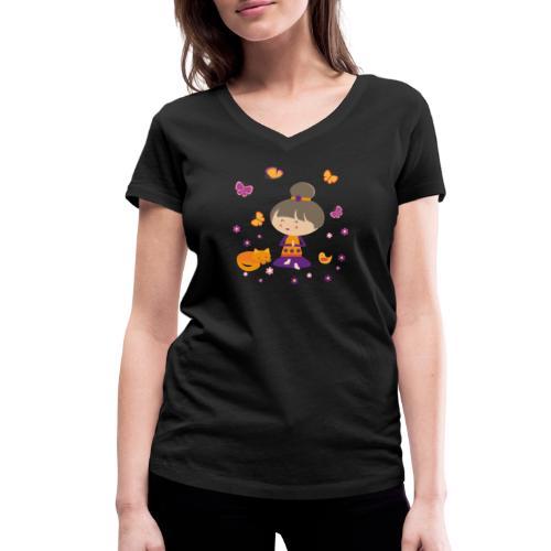 Happy Meitli - Yoga und Meditation - Frauen Bio-T-Shirt mit V-Ausschnitt von Stanley & Stella