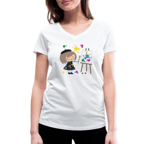 Happy Meitli - Künstlerin - Frauen Bio-T-Shirt mit V-Ausschnitt von Stanley & Stella
