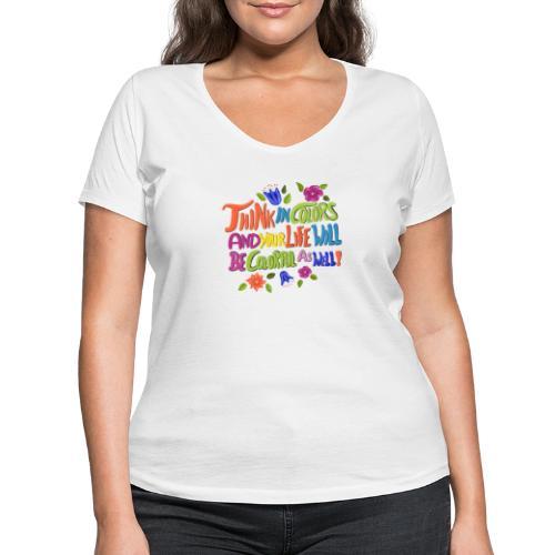 Think in Colors - Frauen Bio-T-Shirt mit V-Ausschnitt von Stanley & Stella