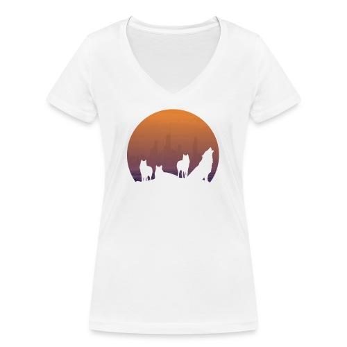Wolfsrudel - Frauen Bio-T-Shirt mit V-Ausschnitt von Stanley & Stella