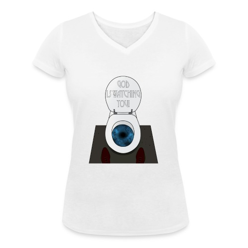 God is watching you! - T-shirt ecologica da donna con scollo a V di Stanley & Stella