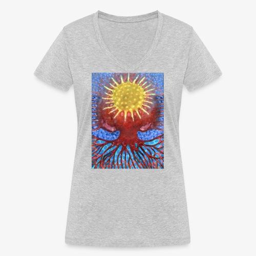 Niebiańskie Drzewo - Ekologiczna koszulka damska z dekoltem w serek Stanley & Stella