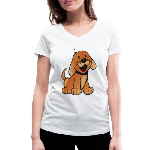 cartoon dog - T-shirt ecologica da donna con scollo a V di Stanley & Stella