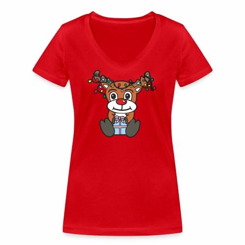 Rentier mit Lichterkette - Frauen Bio-T-Shirt mit V-Ausschnitt von Stanley & Stella