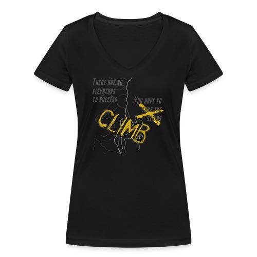 There are no elevators to success, climb - T-shirt ecologica da donna con scollo a V di Stanley & Stella