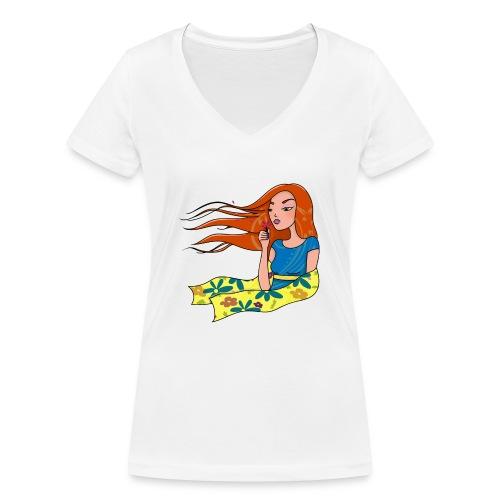 La femme aux pétales - T-shirt bio col V Stanley & Stella Femme