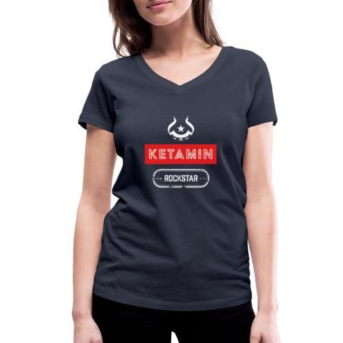 KETAMIN Rock Star - Weiß/Rot - Modern - Women's Organic V-Neck T-Shirt by Stanley & Stella