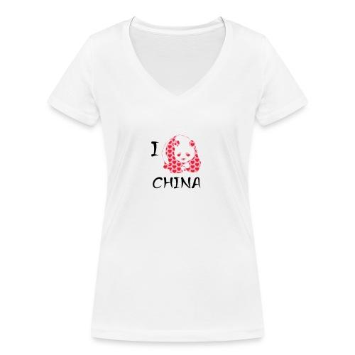 I Love China - Women's Organic V-Neck T-Shirt by Stanley & Stella