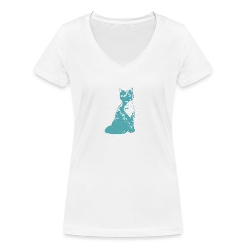 Cat - Vrouwen bio T-shirt met V-hals van Stanley & Stella