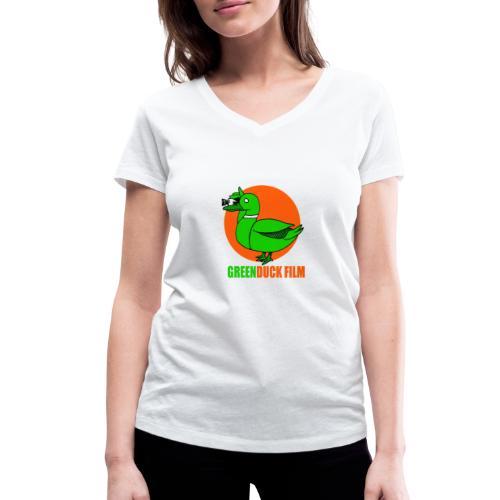 Greenduck Film Orange Sun Logo - Økologisk Stanley & Stella T-shirt med V-udskæring til damer