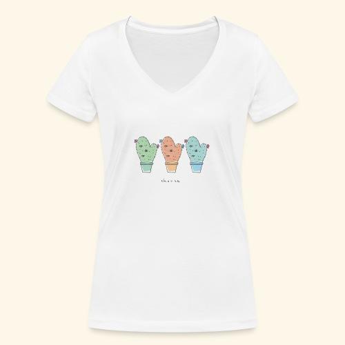 Third eye cactus - T-shirt ecologica da donna con scollo a V di Stanley & Stella