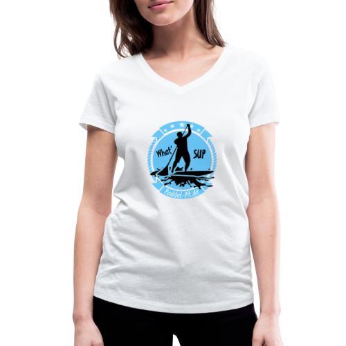 What`SUP. SUP Board Stand Up Paddling Sport - Frauen Bio-T-Shirt mit V-Ausschnitt von Stanley & Stella
