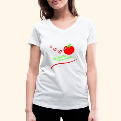 Tomates de mi huerto - Camiseta ecológica mujer con cuello de pico de Stanley & Stella